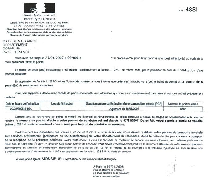 Lettre 48si Portail National Stages Recuperation De Points Permis